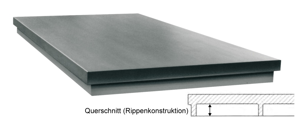 Richtplatte in Rippenkonstruktion 600mm x 600mm x 40/40mm